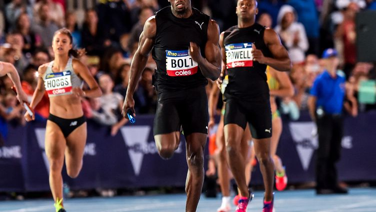 Usain Bolt le 11 février 2017, à Melbourne. (THEO KARANIKOS / AFP)