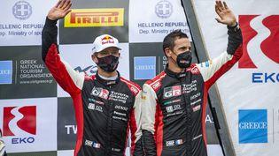 Sébastien Ogier et Julien Ingrassia, à l'arrivée du Rallye de l'Acropole en Grèce, le 9 septembre 2021.  (NIKOS KATIKIS / NIKOS KATIKIS)