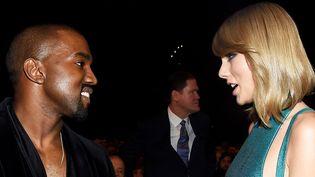 Kanye West et Taylor Swift au temps des sourires, le 8 février 2015 à Los Angeles.  (Larry Busacca / Getty Images/ AFP)