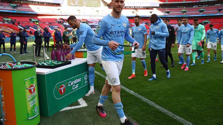 Le défenseur Aymeric Laporte après la victoire de Manchester City en finale de la Coupe de la ligue anglaise contre Tottenham, à Wembley, le 25 avril 2021. (CARL RECINE / POOL)