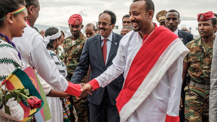 Le Premier ministre éthiopien Abiy Ahmed reçoit le président somalien Abdullahi Mohamed à l'aéroport de Gondar. Photo prise le 9 novembre 2018. (EDUARDO SOTERAS / AFP)