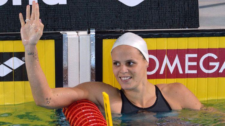La nageuse Laure Manaudou lors du 100 m dos aux Championnats d'Europe de natation en petit bassin, le 23 novembre 2012 à Chartres (Eure-et-Loir). (ERIC FEFERBERG / AFP)
