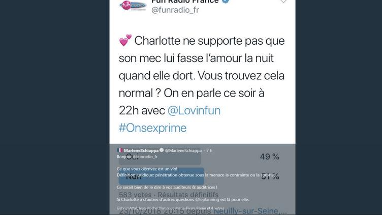 Capture d'écran d'un tweet de Marlène Schiappa reprenant le sondage polémique de Fun Radio. (TWITTER)