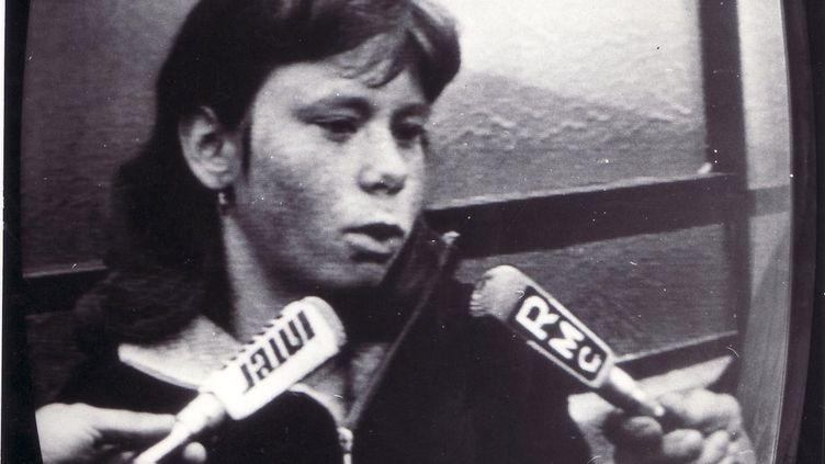 Photo non datée de Murielle Bolle répondant aux questions des médias, en 1984. (MAXPPP)