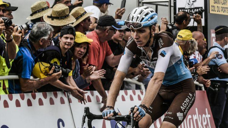Romain Bardet, à l'arrivée de la 17e étape du Tour de France 2018 (PHILIPPE LOPEZ / AFP)