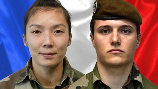 Le sergentYvonne Huynh et le brigadier Loïc Risser. (SIRPA / AFP)