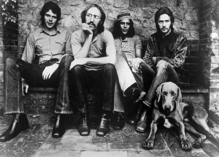Le groupe Derek and the Dominos près de la maison d'Eric Clapton à Ewhurst (Royaume-Uni), en 1970. (MICHAEL OCHS ARCHIVES / MICHAEL OCHS ARCHIVES)