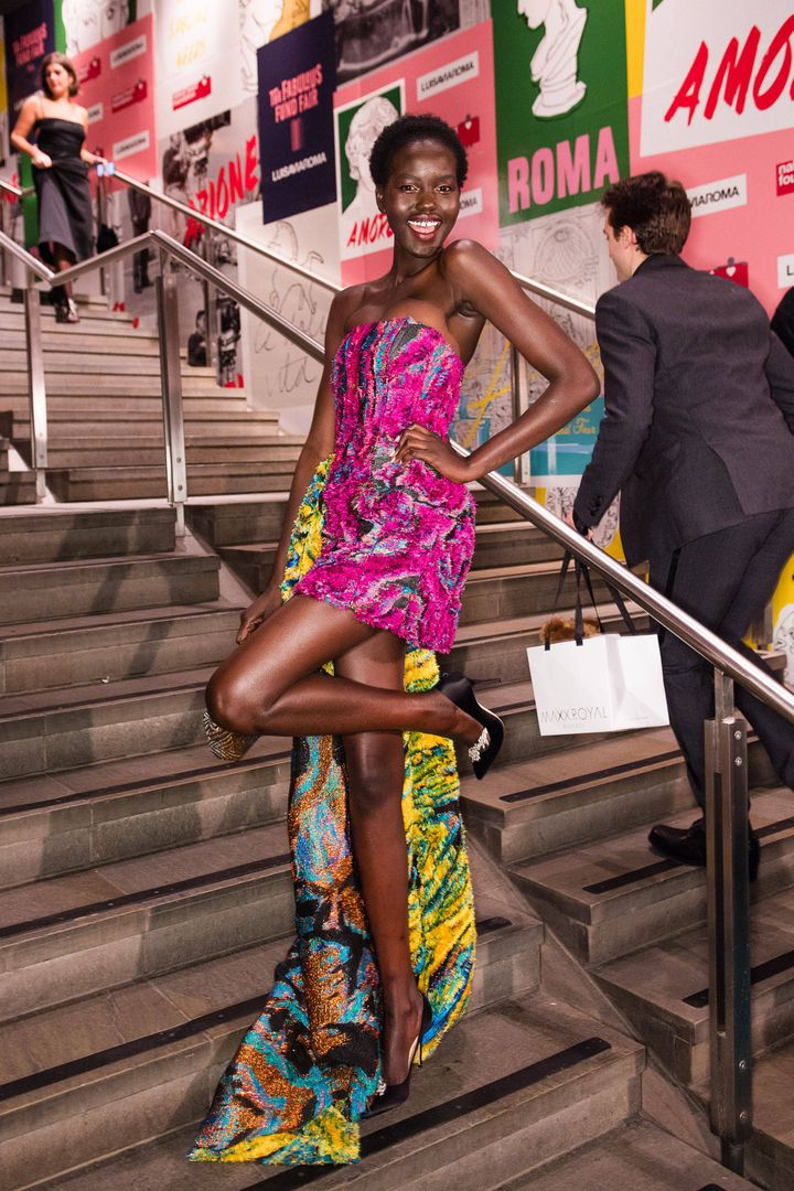 Adut Akech à Fabulous Fund Fair,Fashion Weekà Londres, Royaume-Uni,18 février 2019 (NICK HARVEY/REX/SHUTTERSTOCK/SIPA / SHUTTERSTOCK)
