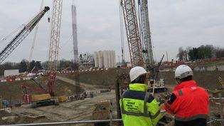 Les travaux du Grand Paris de la future ligne 15 à Villejuif (Val-de-Marne), le 5 décembre 2017. (MAXPPP)
