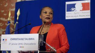 Christiane Taubira devantla presse, au ministère de la Justice, le 27 janvier 2016.  (KENZO TRIBOUILLARD / AFP)