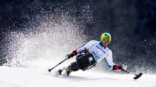 Frédéric François, l'une des meilleures chances de médaille française aux Jeux paralympiques dePyeongchang, lors du slalom géant de Sotchi (Russie), le 15 mars 2014. (JULIAN STRATENSCHULTE / DPA)