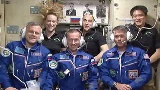 Deux cosmonautes russes Sergueï Ryjikov et Andreï Borissenko et l'astronaute américain Shane Kimbrough dansla Station spatiale internationale, le 21 octobre 2016 (NASA)