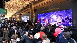 La foule vient admirer les vitrines des grands magasins du boulevard Haussmann à Paris, dimanche 7 décembre 2014. (MAXPPP)