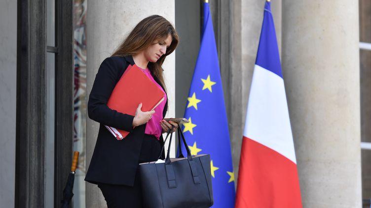 Marlène Schiappa quitte l'Elysée, à Paris, le 16 mai 2018. (GERARD JULIEN / AFP)