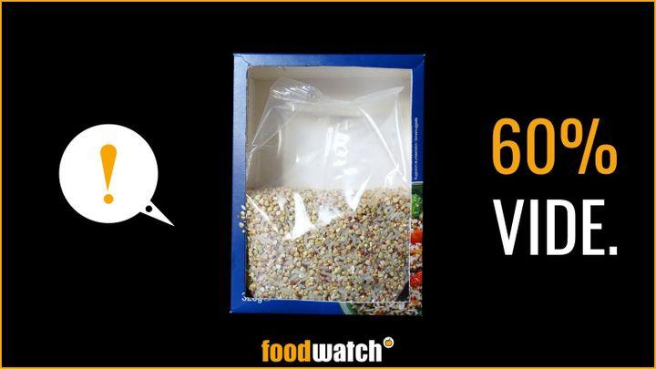 """Un visuel de la nouvelle campagne de l'ONG Foodwatch, visant à dénoncer les emballages alimentaires """"pleins de vide"""" dans les supermarchés français, présentée le 17 septembre 2020. (FOODWATCH)"""