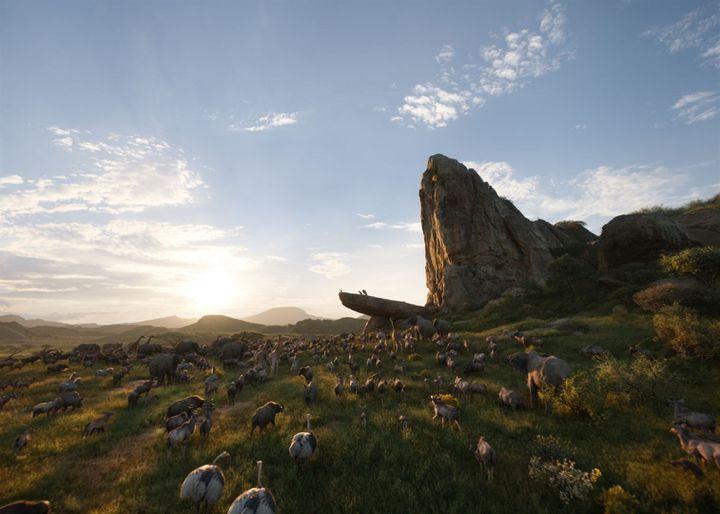 Le rocher aux lions est exactement le même que dans le film de 1994. (The Walt Disney Company France)