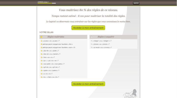 Capture d'écran de la page qui indique les points sur lesquels l'internaute devra s'entraîner, à l'issue d'un premier test. (PROJET-VOLTAIRE.FR / WOONOZ / FRANCETV INFO)