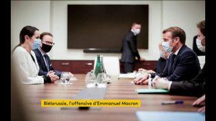 Svetlana Tikhanovskaïa etEmmanuel Macron (FRANCEINFO)