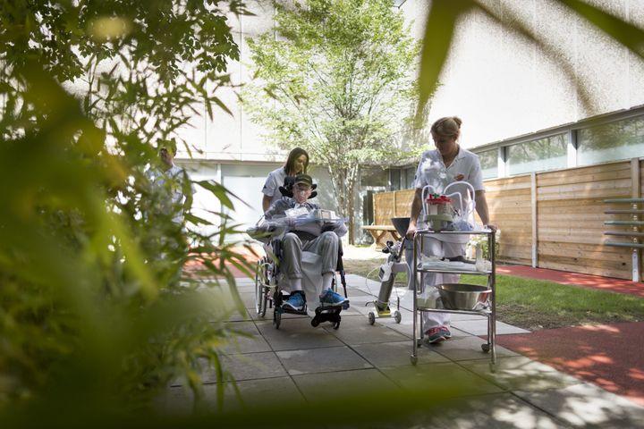 Jardin thérapeutique à l'hôpital universitaire de Lausanne (Suisse). (MAXPPP)