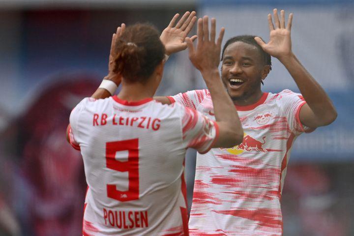 Christopher Nkunku s'est offert un doublé face au Hertha Berlin. (ROBERT MICHAEL / DPA-ZENTRALBILD)