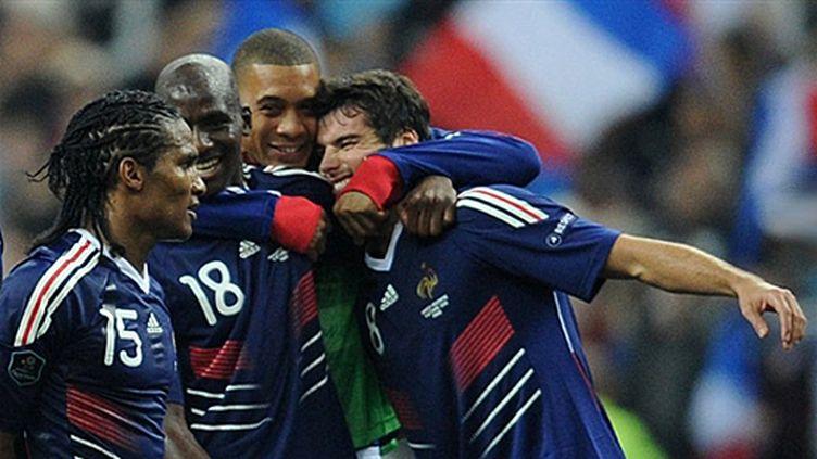 Malouda, Diarra, Hoarau et Gourcuff ont le sourire (FRANCK FIFE / AFP)