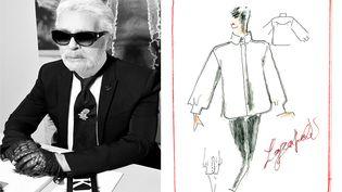 Portrait du couturier Karl Lagerfeld et chemise blanche dessinée par Karl Lagerfeld pour l'automne-hiver 2017-19 (PORTRAIT KARL LAGERFELD DE STEPHANE FEUGERE)