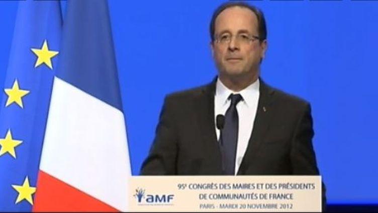 François Hollande, devant le congrès des maires, mardi 20 novembre 2012. (FRANCETV INFO / FRANCE 2)