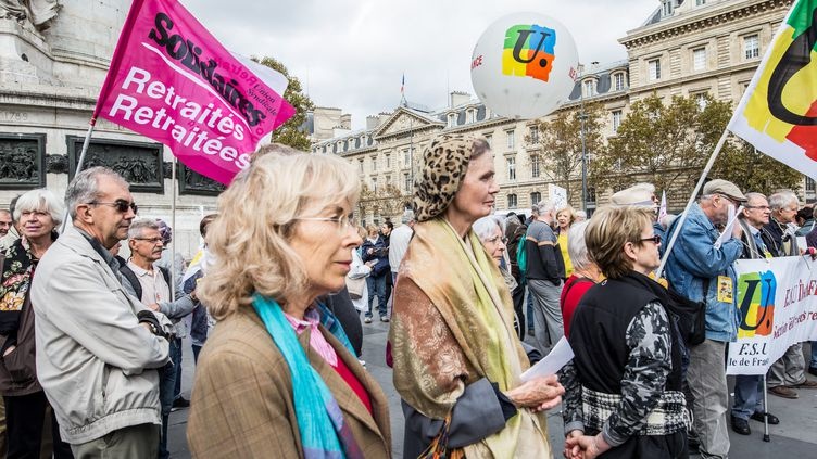 Des retraités manifestent contre les réformes des retraites, place de la République à Paris, le 3 octobre 2018. (MAXPPP)