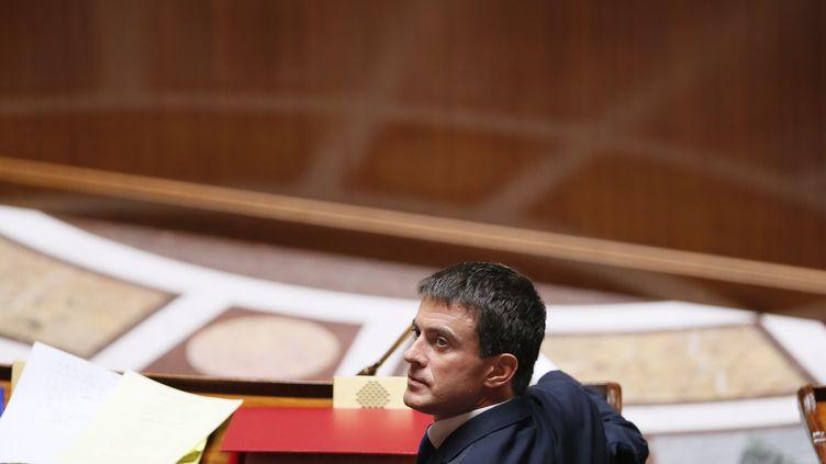 Le Premier ministre, Manuel Valls, le 16 septembre 2014 à l'Assemblée nationale, à Paris. (PATRICK KOVARIK / AFP)
