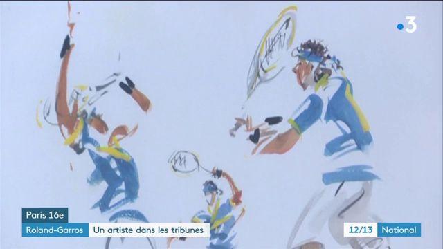 Roland-Garros : Joël Blanc et ses aquarelles dans les gradins