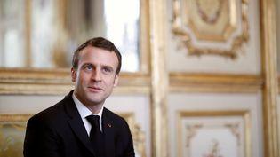 Le président de la République, Emmanuel Macron, le 5 février 2019 à l'Elysée. (BENOIT TESSIER / AFP)