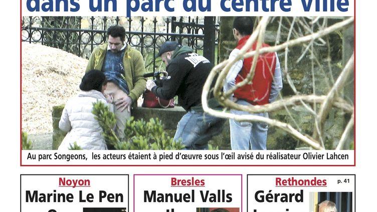 """La une de l'édition de Compiègne (Oise) du journal local """"Oise Hebdo"""", le 11 mars 2015. (OISE HEBDO)"""