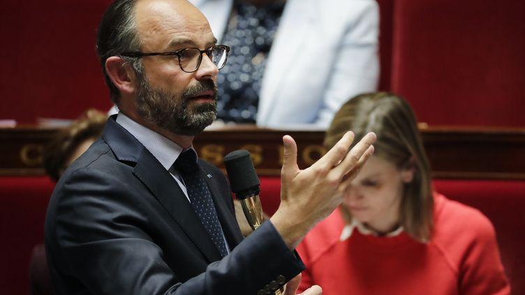 Edouard Philippe lors d'une session de questions au gouvernement à l'Assemblée nationale, le 21 mai 2019. (THOMAS SAMSON / AFP)