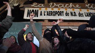 Les zadistes célèbrent la décision du gouvernement de renoncer au projet d'aéroport de Notre-Dame-des-Landes, le 17 janvier 2018 sur le site deLoire-Atlantique. (LOIC VENANCE / AFP)