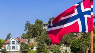 Un drapeau norvégien flottant à Oslo. (MAISANT LUDOVIC / AFP)