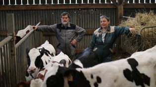 Des exploitants de la ferme du Liminbout, dans la ZAD de Notre-Dame-des-Landes (Loire-Atlantique), le 29 mars 2016. (MAXPPP)