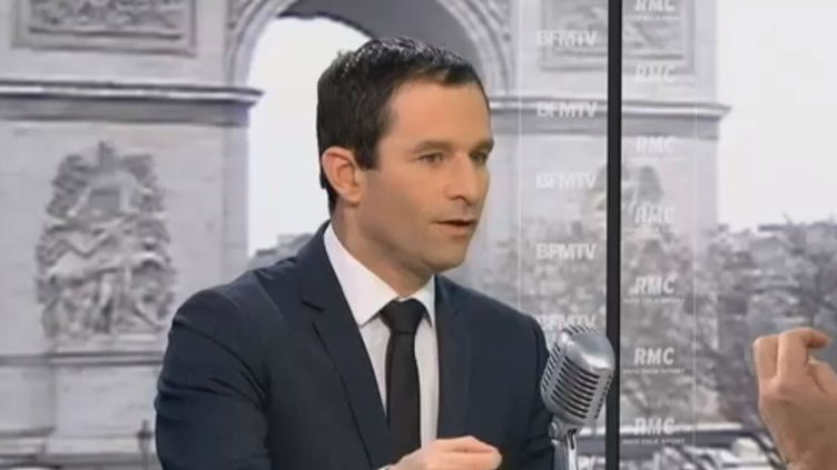 Benoît Hamon, ministre de la Consommation, sur BFMTV, le 12 février 2013. (BFMTV / FRANCETV INFO)