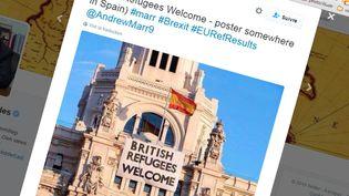 (Une photo retouchée pour annoncer l'accueil de réfugiés britanniques à Madrid après le Brexit © Capture d'écran Twitter)