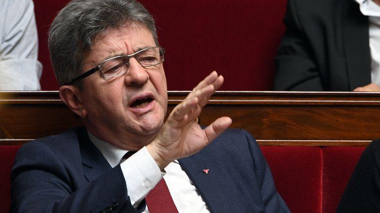 Jean-Luc Mélenchon, sur les bancs de l'Assemblée nationale, le 16 mai 2018. (ERIC FEFERBERG / AFP)
