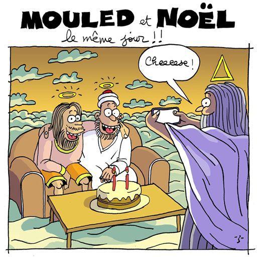 Caricature de Z avec pour titre: «Mouled et Noël le même jour!!». Mouled (ou Mawlid) est la fête musulmane célébrant la naissance du prophète. En 2015, elle tombait le même jour que Noël. Dans le dessin, les deux compères Mahomet (assis) et le Christ (debout, prenant une photo) font la fête ensemble. (DEBATunisie)