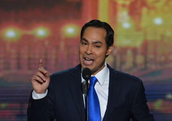 Julian Castro, lemaire de San Antonio(Texas), pendant son discours le 4 septembre 2012 à la convention démocrate à Charlotte (Caroline du Nord). (STAN HONDA / AFP)