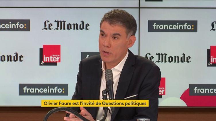 """Olivier Faure, premier secrétaire du Parti socialiste était l'invité de """"Questions Politiques"""" dimanche 17 janvier. (FRANCE INTER / RADIO FRANCE)"""