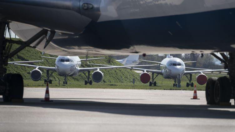 Des avions immobilisés à l'aéroport Roissy-Charles-de-Gaulle (Val-d'Oise), pendant le confinement visant à freiner la propagation du Covid-19, le 24 mars 2020. (THOMAS SAMSON / AFP)