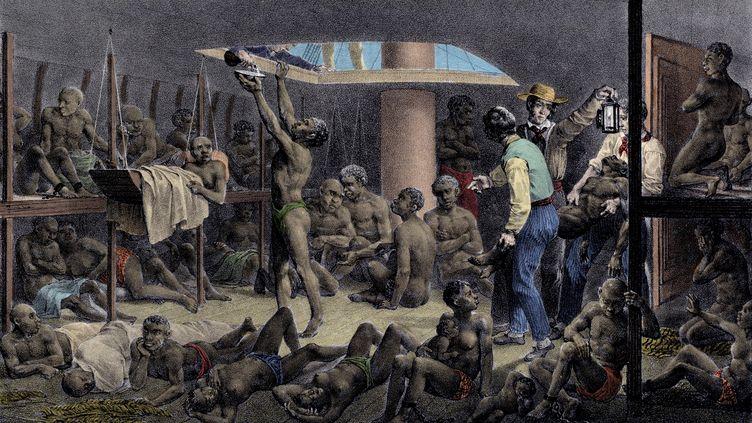 Illustration d'un transport d'esclaves sur un navire négrier. (Gravure du XIXe siècle)