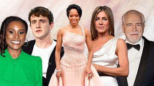 Quelques uns des nommés aux 72e Emmy Awards. De gauche à droite, Ted Danson, Issa Rae, Paul Mescal, Regina King, Jennifer Aniston, Brian Fox et Zendaya. (AFP / AWA SANE / FRANCEINFO)