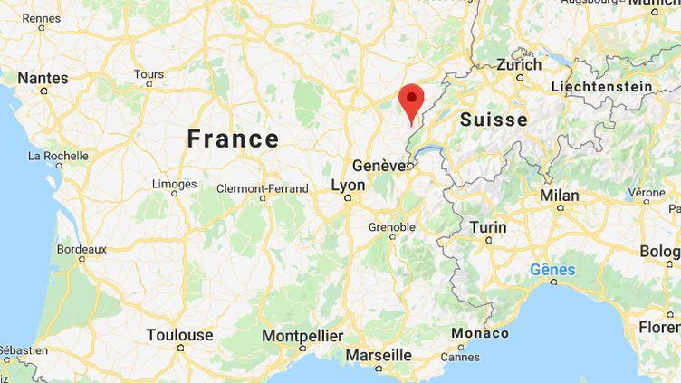 Capture d'écran d'une carte montrant la ville de Mouthe (Doubs) où Météo France a enregistréune température de 1°C, le 14 août 2019. (GOOGLE MAPS)