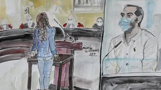Une ancienne compagne de Nordahl Lelandais témoigne lors de son procès pour le meurtre d'Arthur Noyer devantla cour d'assises de la Savoie, à Chambéry, le 4 mai 2021. (MARIE WILLIAMS / AFP)