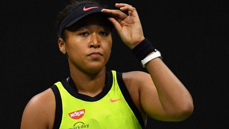 La JaponaiseNaomi Osakaa été éliminée au troisième tour de l'US Open, samedi 4 septembre. (ED JONES / AFP)
