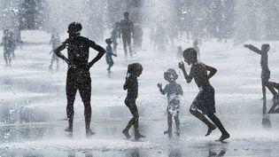 Adultes et enfants jouent dans les fontaines de Nice (Alpes-Maritimes), le 5 juin 2015. (VALERY HACHE / AFP)