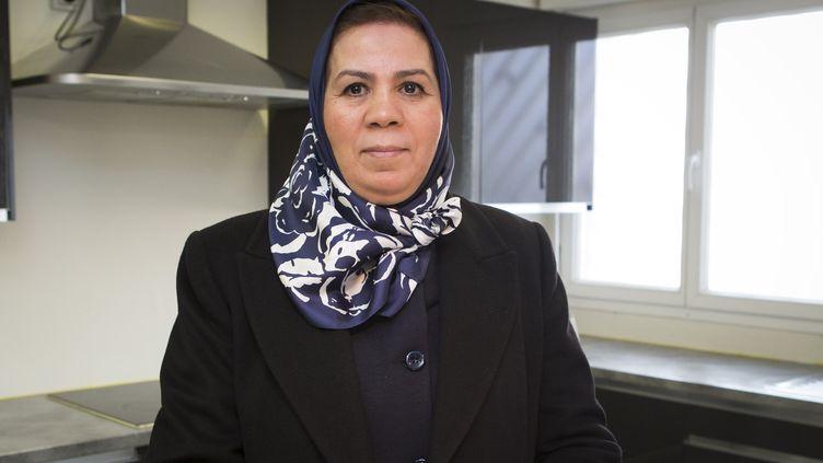 Latifa Ibn Ziaten, mère d'un des soldats tués par Mohamed Merah en mars 2012, le 16 février 2016 àGarges-les-Gonesse (Val-d'Oise). (GEOFFROY VAN DER HASSELT / AFP)